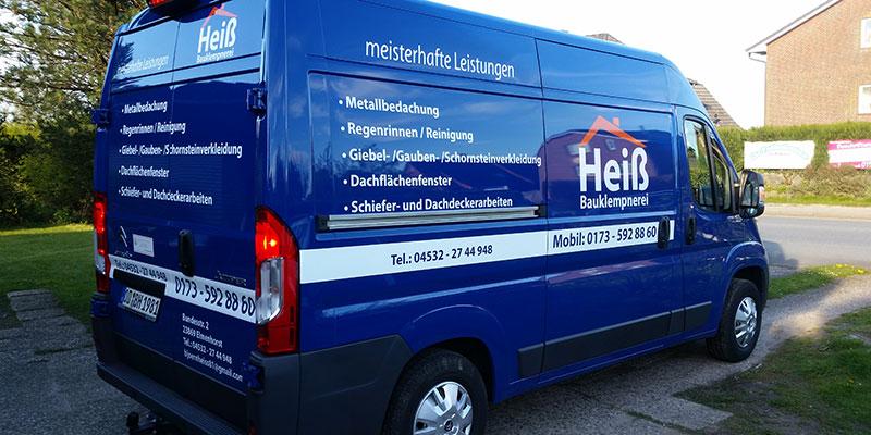 Autobeschriftung / Transporter Beschriftung Firma Heiß Bauklempnerei